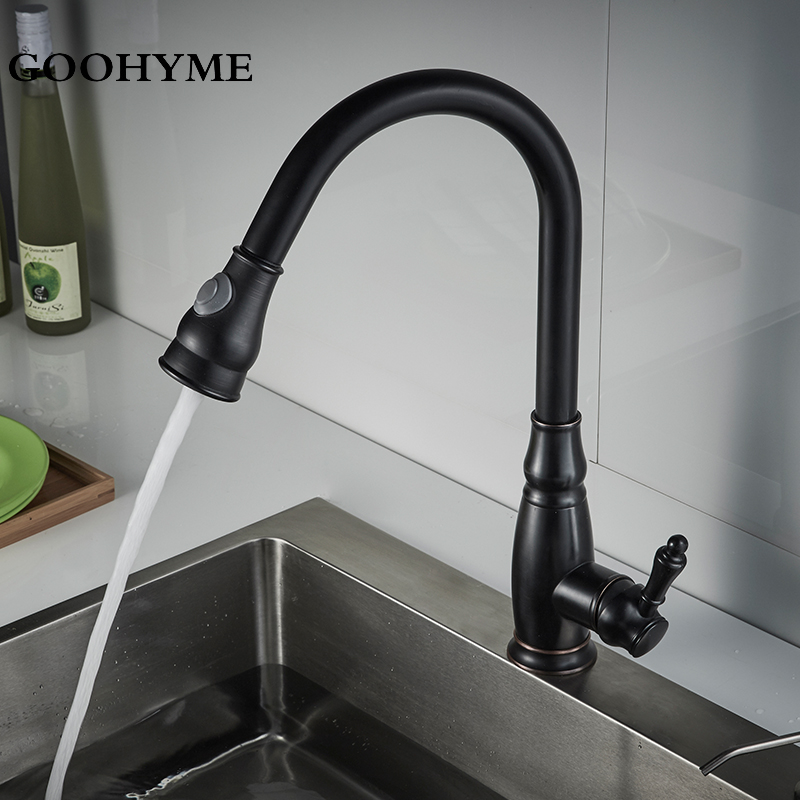 Modern 360 Swivel Spout 2 Modes Black Kitchen Faucets Pull Out Modern Sink Faucet Deck Mounted Single Handle Mixer Tap KF001