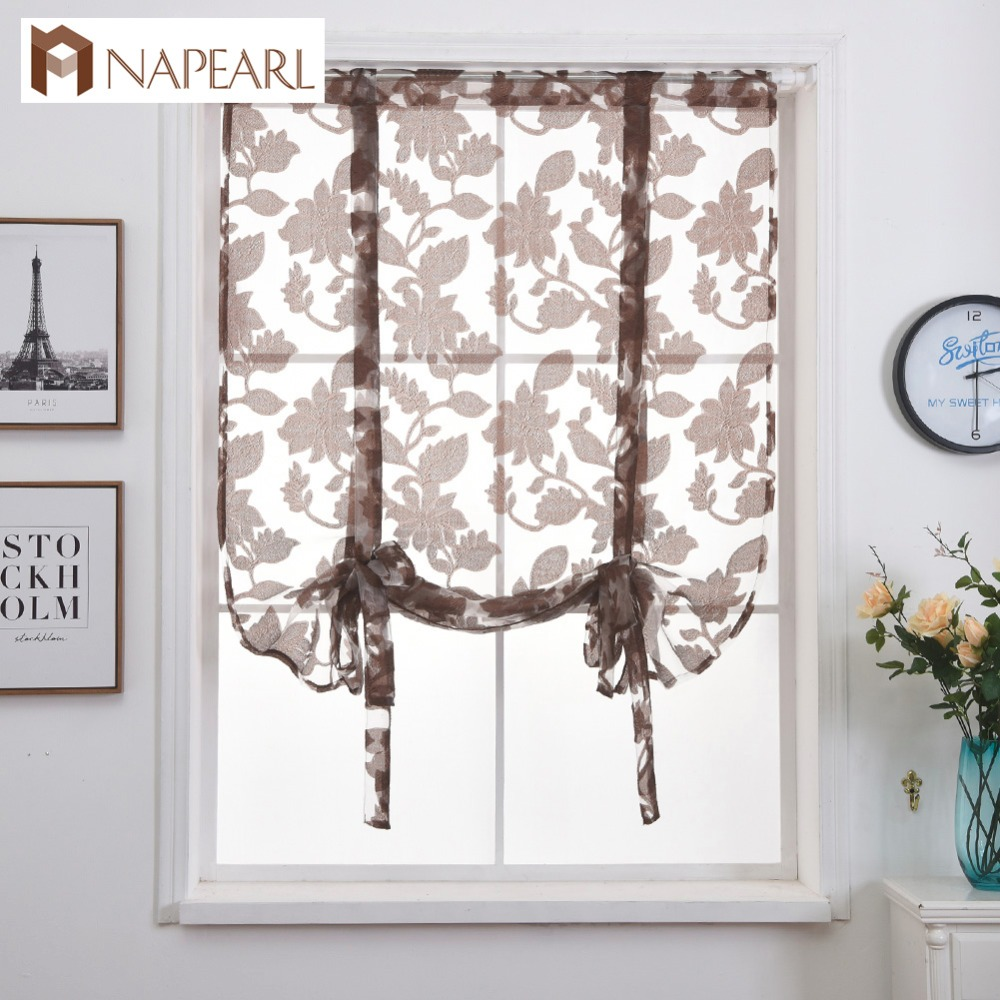Short Curtains Modern Kitchen Sheer Curtain Valance Rod Pocket Tie Up Roman Door Living Room Dining Tulle Organza