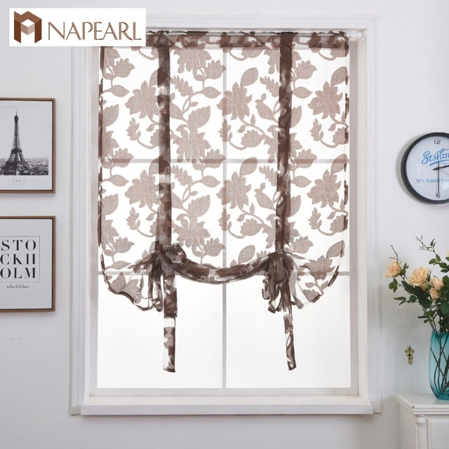 Short Curtains Modern Kitchen Sheer Curtain Valance Rod Pocket Tie Up Roman Door Living Room