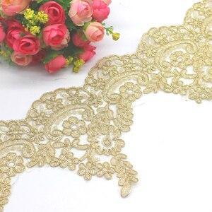 Image 4 - זהב רקום תחרה Appliqued 5 Yds שמפניה זהב תחרה Trims אור טול תחרה בד מסולסל כלה Sashes 23 31CM