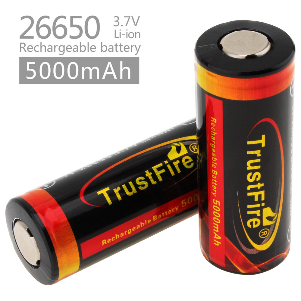 2pcs/lot TrustFire 3.7V 26650 High Capacity 5000mAh Rechargeable Li-ion Battery with Protected PCB for LED Flashlights Headlamps