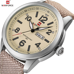 Męskie zegarki Top luksusowa marka NAVIFORCE skórzane dorywczo mody wodoodporny zegarek wojskowy Relogio Masculino Sport mężczyźni zegarki w Zegarki kwarcowe od Zegarki na