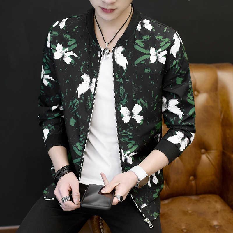 977e6f9fa New 2018 Fashion Men Jacket Coat Full Flower Printing Bomber Jacket Men  Korean Slim Fit Mens Cloting Floral Casual Male Jackets