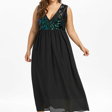 c868f406c210 Wipalo Plus Size Deep V Neck Glittery Maxi Dress Sequined Trim Sleeveless  Flowing Low Cut Sparkly