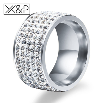 X & P moda Charm 5 satır hatları temizle kristal parmak yüzük kadın erkek klasik düğün suni elmas paslanmaz çelik yüzük takı