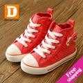Rendas arco meninas shoes marca casual crianças shoes para meninas dot esportes lona de borracha novo 2017 outono princesa caçoa as sapatilhas