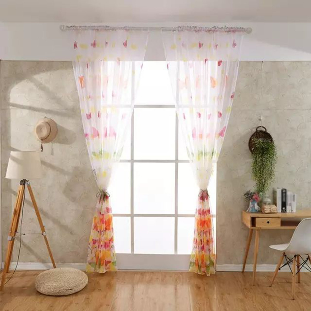 Delicate Printed Butterfly Window Tulle Voile Sheer Curtains for Living Room HOT