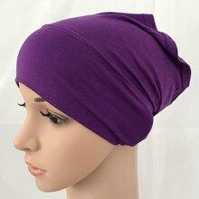 Модальный хлопок однотонный цвет Внутренняя крышка бинты мусульманские подшарфы хиджаб