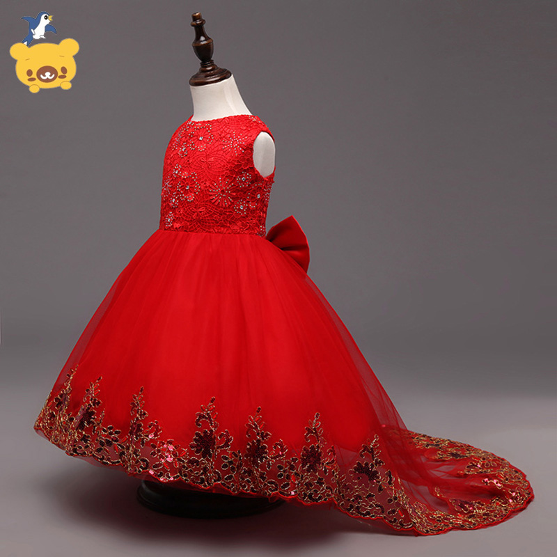 Girls  sleeveless  Princess Party Dress bow  Lace  wedding dress girl long red dress girls europe and the united states children s wear red princess long sleeve princess dress child kids clothing red bow lace