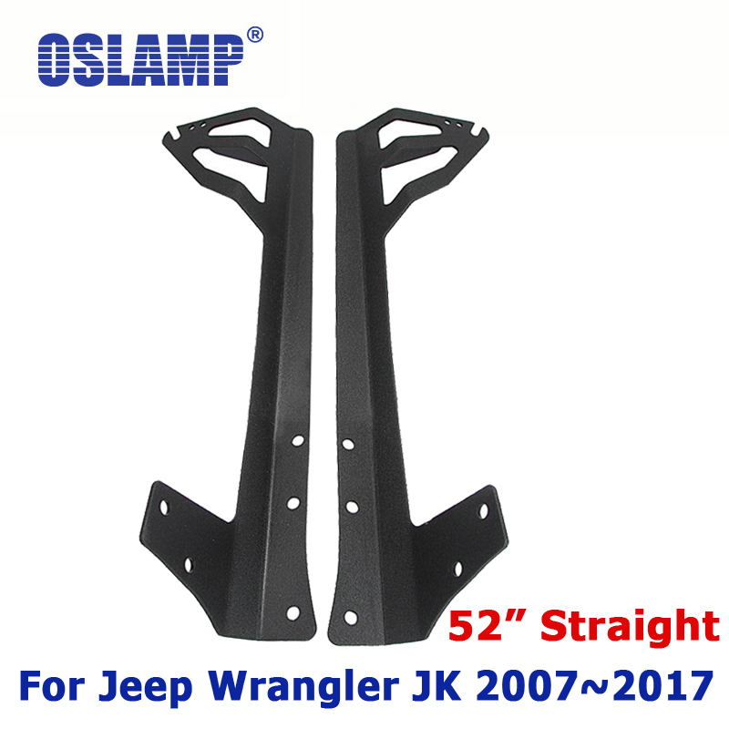 Oslamp For Jeep Wrangler JK 2007~2017 Remodel For 52 LED Driving Light Bar Installation On Windshield Mounting Brackets 2 piece set locking hood look catch hood latches kit for jeep wrangler jk rubicon sahara unlimited 2007 2016