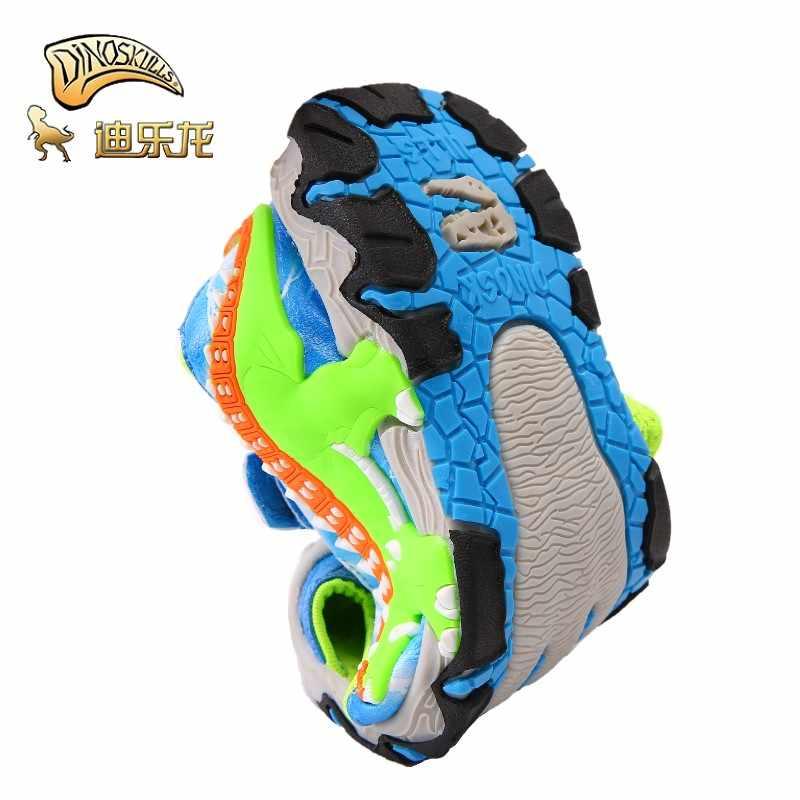 DINOSKULLS סנדלי בני קיץ 3D דינוזאור ילדים של חוף ספורט נעלי עור אנטי להחליק ילדים סגור הבוהן סנדלי Eur #27-#34