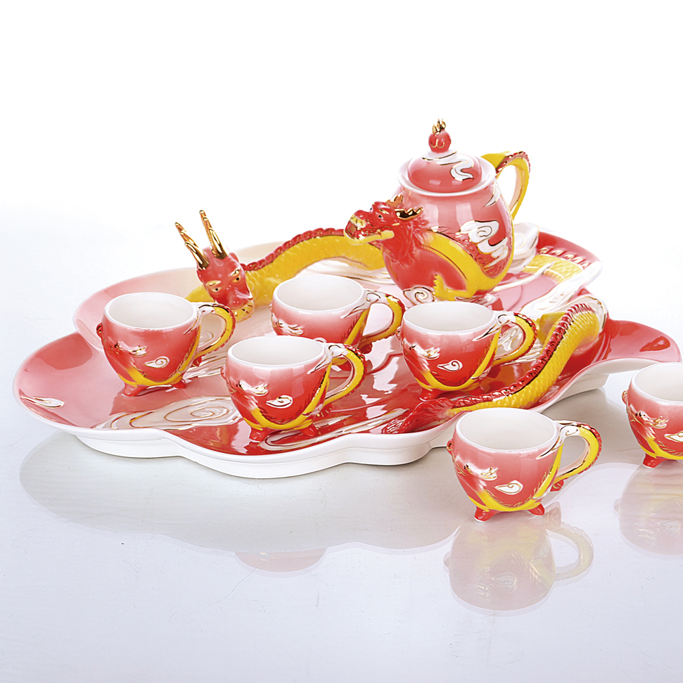 Teapot With Cup Us 160 Ceramics Enamel Dragon 8 Pcs Sets Home Drinkware Teapot Cup Painted Franc Fashion Tea Set Gifts Fashion Custom Office Decoration In Coffee