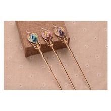 1pcs OIUBOSS Vintage Fashion Jewelry Peacock Hairpin Headdress Blue Crystal Hair Sticks For Women Girl Accessories