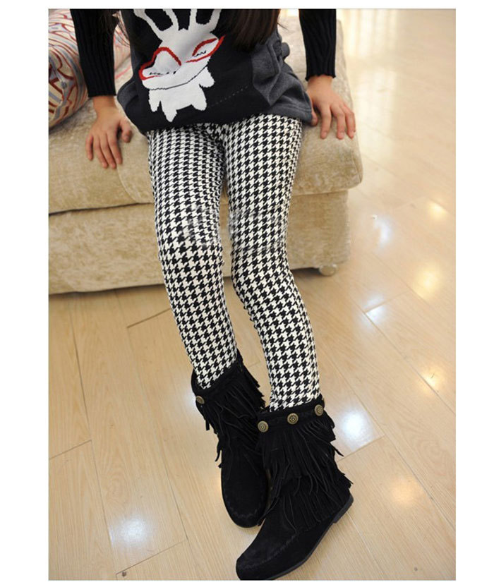 0a22296b6c00ed High quality Girls Spring Autumn Pencil Pants Girls Houndstooth Leggings  Classical Swallow Gird Skinny Pants Elastic Waist-in Pants from Mother &  Kids on ...