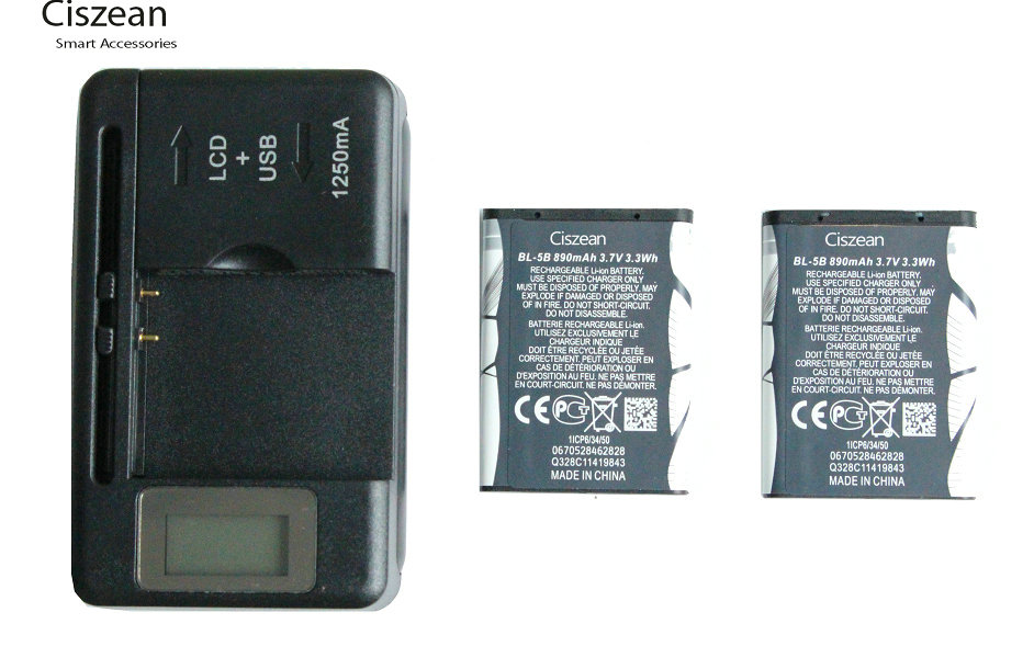 2x 890mAh BL-5B Replacement Battery + LCD Charger For Nokia 3230 5070 5140 5140i 5200 5300 5500 6020 6021 6060 6070 6080 ect(China)