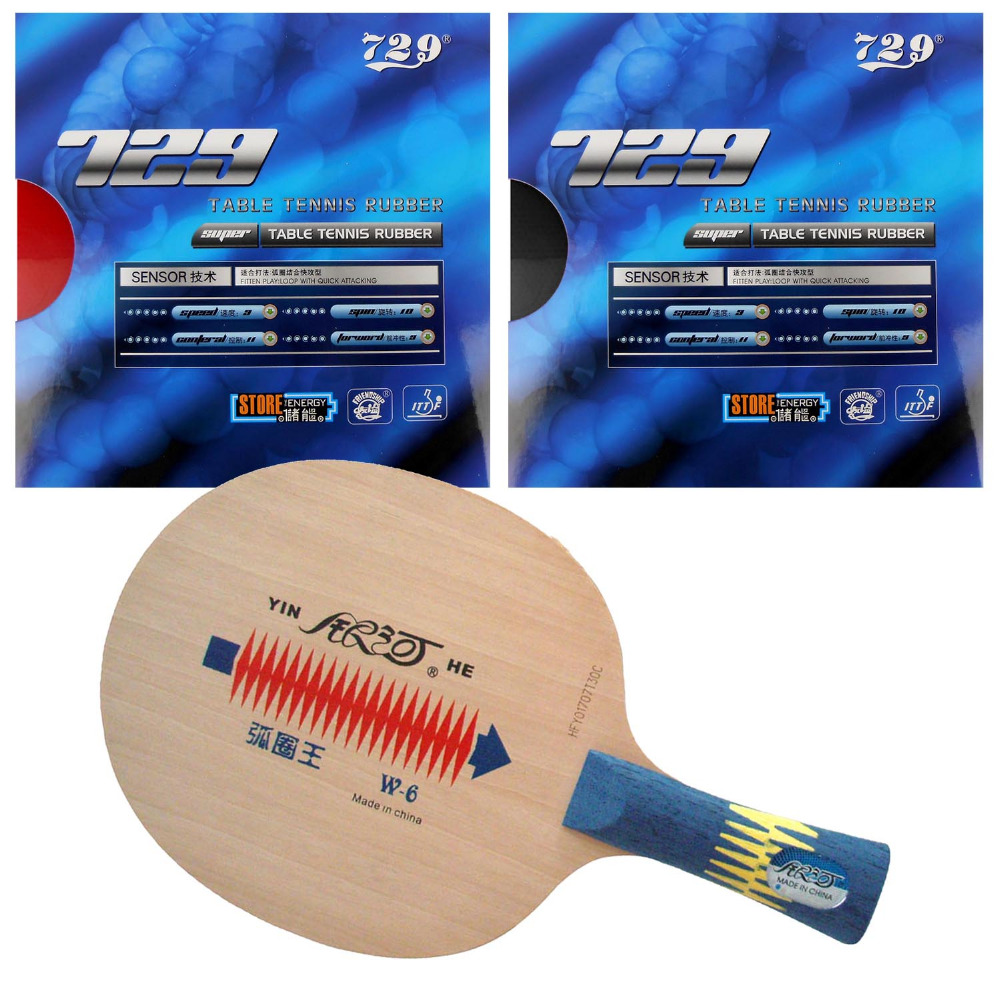 Pro Table Tennis (PingPong) Combo Racket: Galaxy YINHE W-6 Blade with 2x 729 SUPER FX-729 (GuoYuehua) Rubbers FL