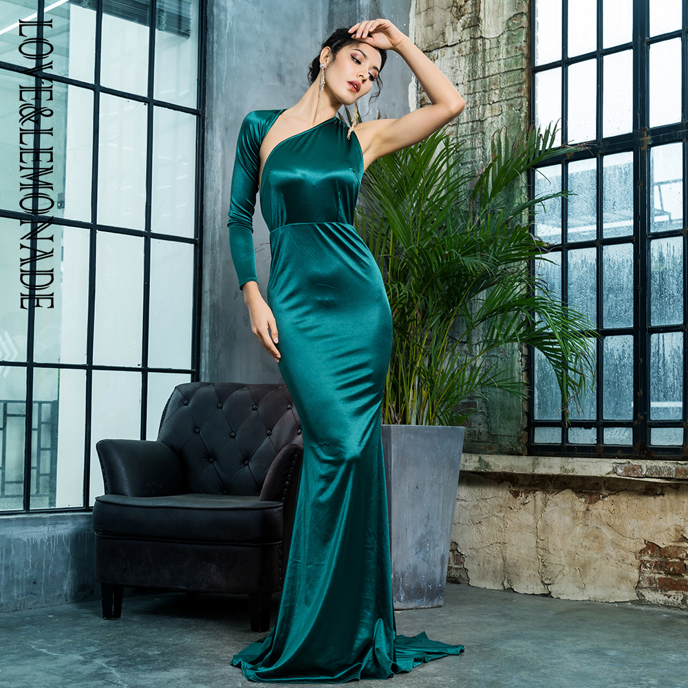 Love Lemonade Sexy Open Back Separate Sleeve Elastic Material Long Dress LM81333GREEN