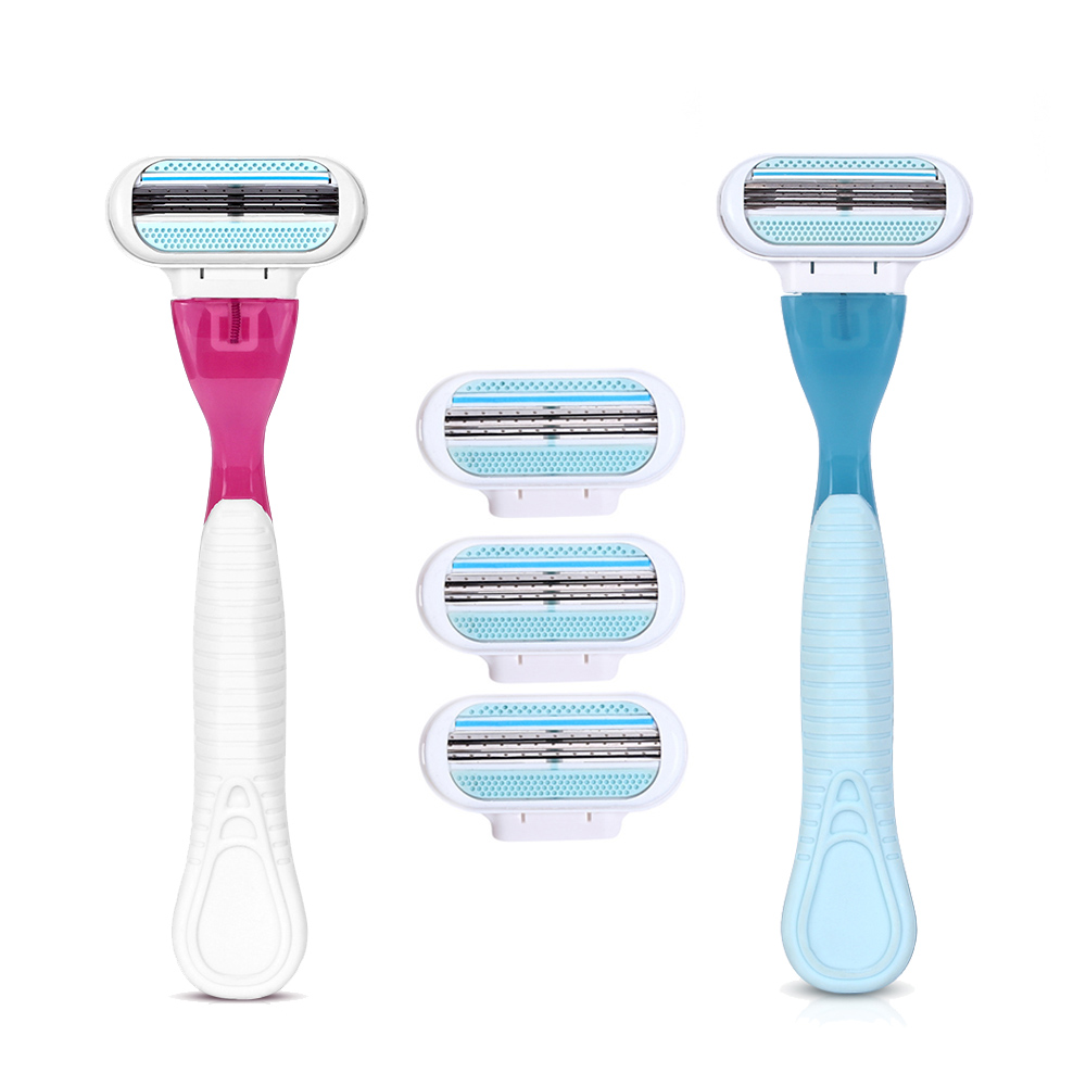 1 Razor Handle 4 Razor Blades Manual Shaving Women Razors Blade Shaving Hair Safety  Lady Razor Head
