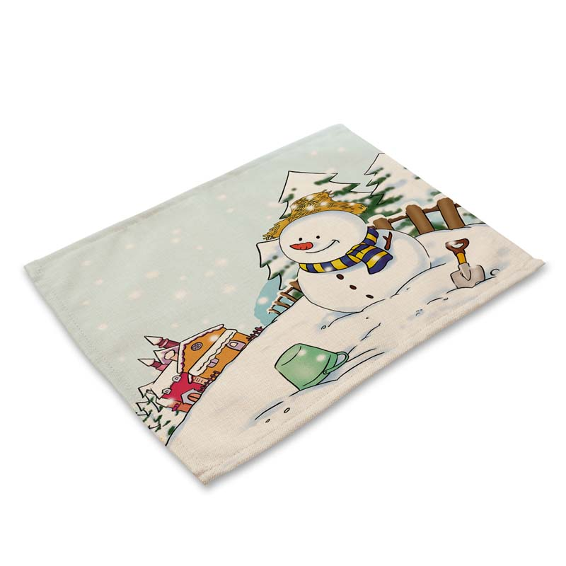 42*32cm Christmas Pattern Table Dinner Burlap Napkin Placemats For Party Home Decor Table Napkins mx0005-2