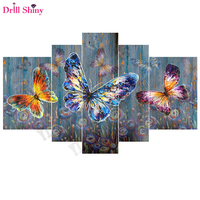 5pcs Colorful Butterflies Full Square Drill 5D Diy Diamond Painting Mosaic Resin Embroidery Needlework Animal Cross