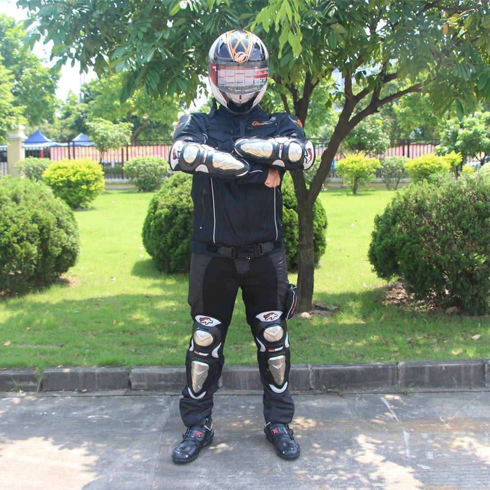 Motosiklet koruyucu donanım Kneepads Elbowpads paslanmaz çelik dirsek diz bacak Shin Bruce koruyucu vücut zırhı muhafızları HX-P19