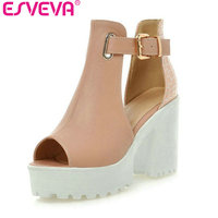 Size 34 43 Buckle PU Leather Lady Platform Wedding Shoe Sexy Summer T Strap Peep Toe