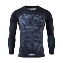 Moto 2016 New Fitness Compression Shirt Men Superman Bodybuilding Long Sleeve 3D T Shirt Crossfit Tops