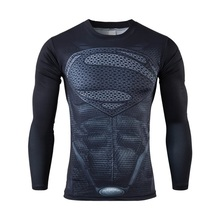 Moto 2016 New Fitness Compression Shirt Men Superman Bodybuilding Long Sleeve 3D T Shirt Crossfit Tops Shirts