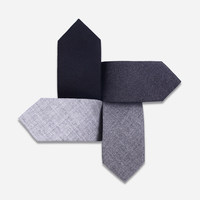 Top Quality 5cm Slim Ties for Men Simple Solid Black Grey Neckties Narrow Sheep Wool Tie Boys Casual Accessories with Gift Box