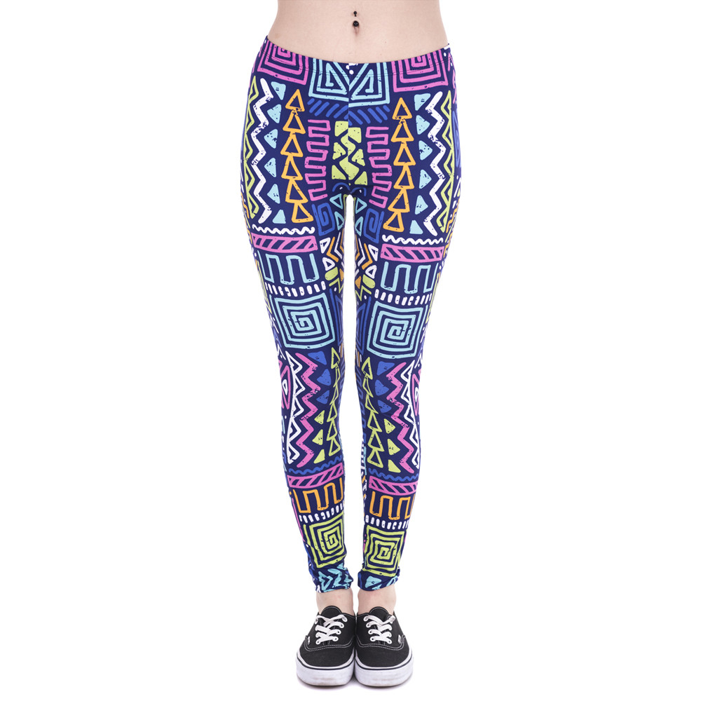 Autumn Winter New Leggings African Zig Zag Purple Printing Fitness Legging Sexy Silm High Waist Trouser Women Pants
