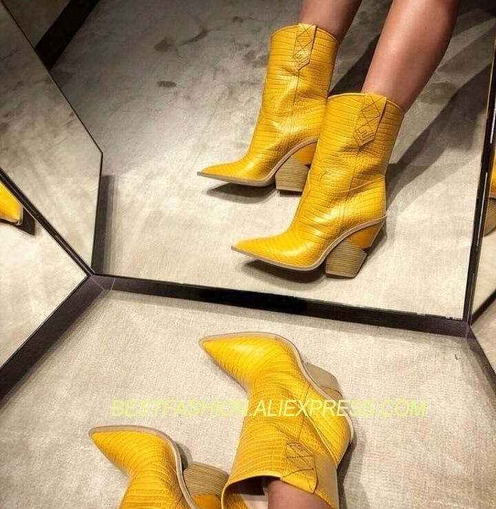 2018 обувь женские ботинки осень зима острый носок не сужающийся к низу каблук крокодил узор из натуральной коровьей кожи Дизайн Mujer полусапо