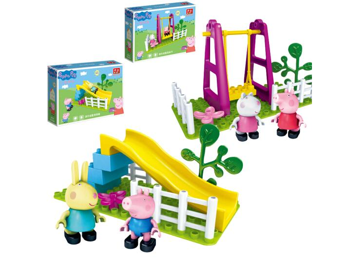 Peppa Pig Family Toy Building Blocks Swing Slide With George Rebecca Figure Parent-child Game Kids Toy Model Building Flight Tracker Genuine Peppa Pig
