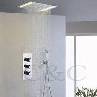 110 V ~ 220 V Dòng Điện Xoay Chiều Vàng Đèn LED Shower Head Lớn Lưu Lượng Nước Mixer Van Lượng Mưa Trong Phòng Tắm Tắm vòi Set