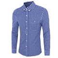 Camisas para hombre Casual Regular Plaid Slim Fit Solo Pecho de Algodón Y Poliéster Tiene Tamaño Grande Camisas 14CS65