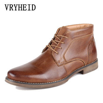 VRYHEID High Quality Men's High Boots Autumn And Winter Plus Velvet Shoes Large Size Shoes Men Genuine Leather Boots US 7.5-12