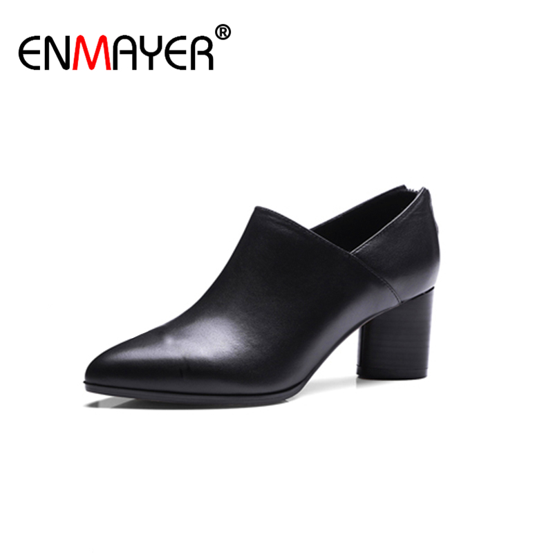 ФОТО ENMAYER Pointed Toe Zippers Chunky Heel Genuine Leather High Heels Shoes Women Spring/Summer Women Pumps Dress Charm Office Lady