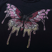 FS Grote kleurrijke vlinder hot fix strass motief ontwerpen ijzer op crystal transfers ontwerp applique patches strass ijzer