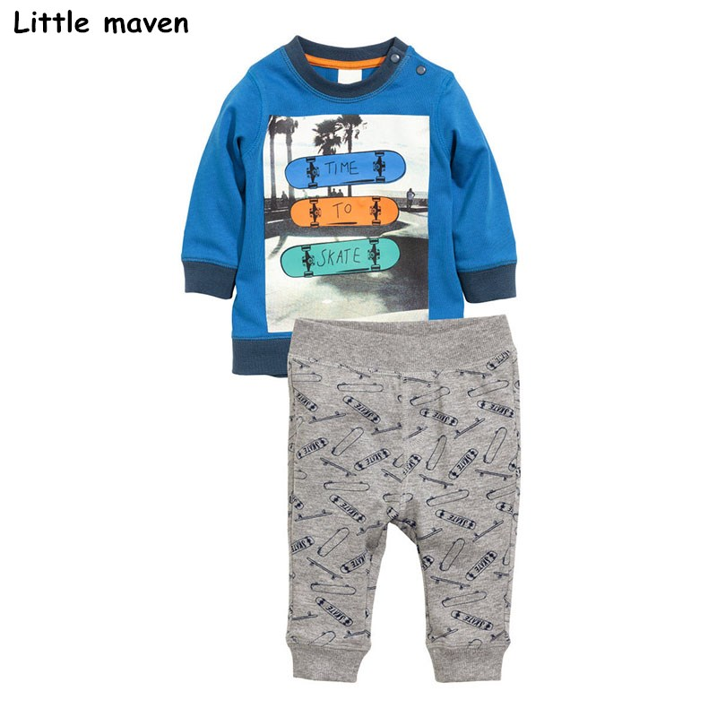 Little maven children's clothing sets 2018 new autumn boys Cotton brand long sleeve skate print t shirt + pants 20167 casual print long sleeve t shirt ox pants twinset for boys