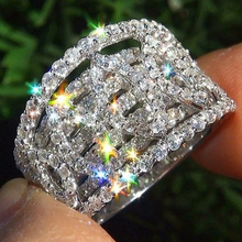 Elegant Wedding Engagement Rings Anniversary Accessories With Full Shiny Cubiz Zircon Stone D30