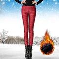 Осень Зима Мода теплые брюки леггинсы Женщины Растянуть блестящие брюки Леггинсы женские Эластичные Бархатные штаны теплые леггинсы плюс размер