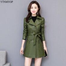 YTNMYOP женский кожаный Тренч Тонкий модный ремень кожаная одежда осенние длинные кожаные пальто с отложным воротником