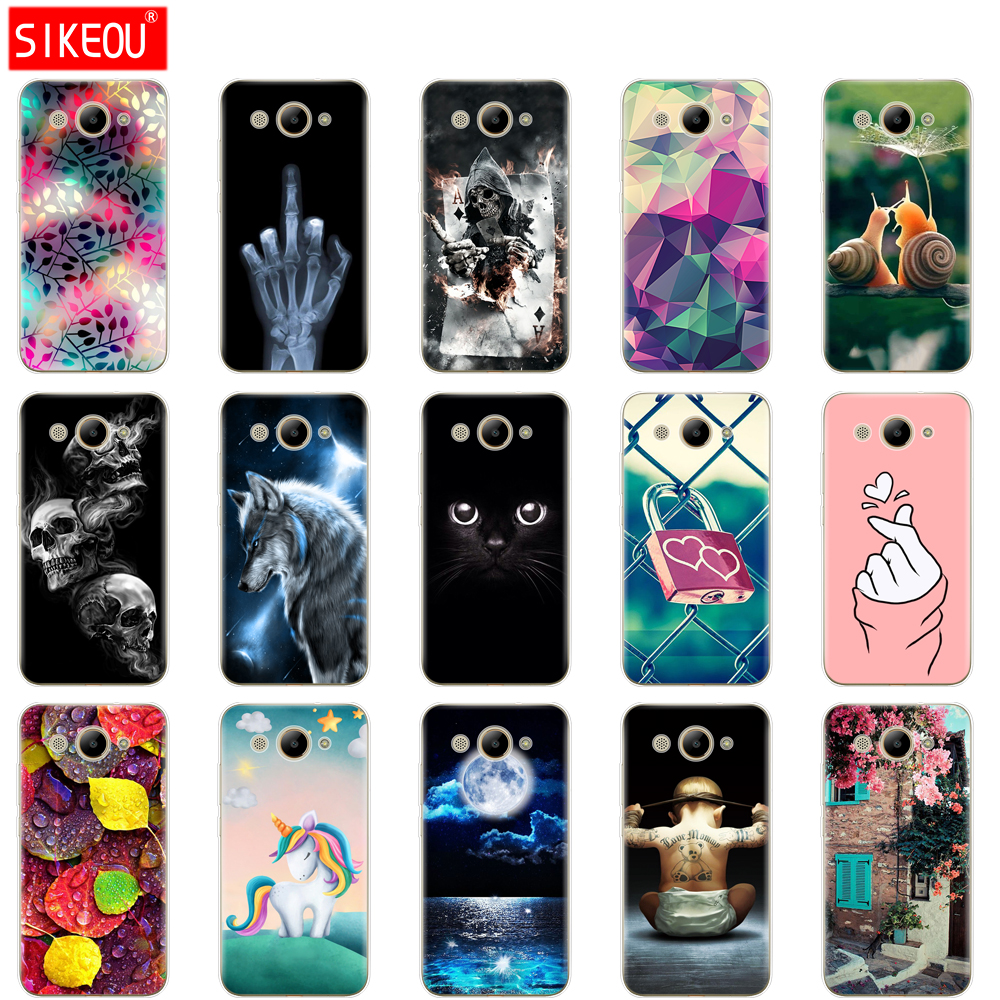 For Huawei Y3 2017 Case Soft Silicone Huawei Y3 2017 Transparent Back Cover 5.0'' TPU Y 3 2017 Phone Cases Cat Flower