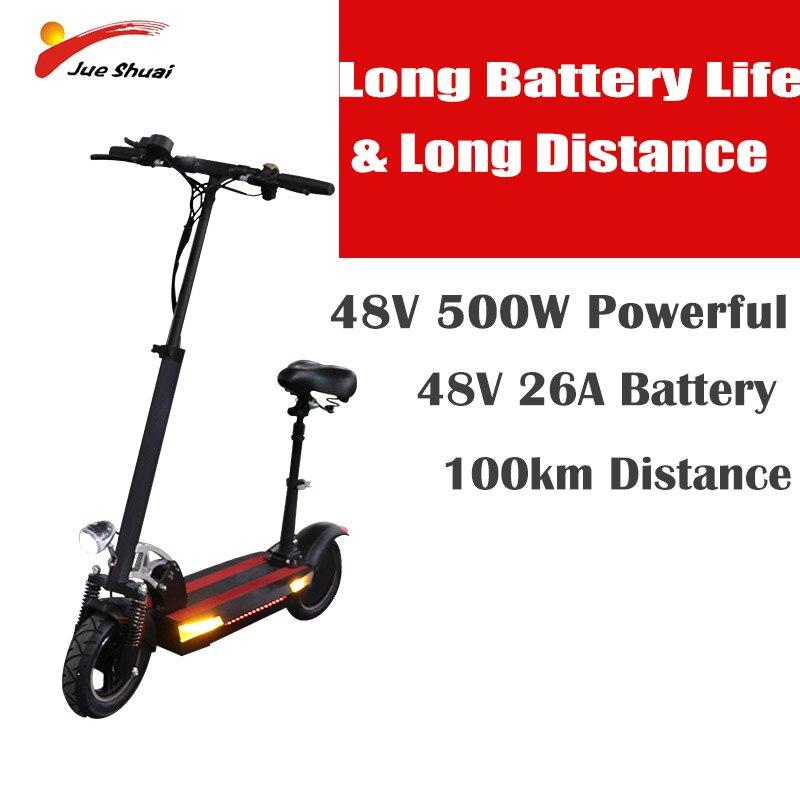 Scooter électrique pliable de 500W 48V 18KM 100KM X48 IP54 imperméable à l'eau 5A 26A batterie au Lithium E Scooter avec siège électrique Patinete