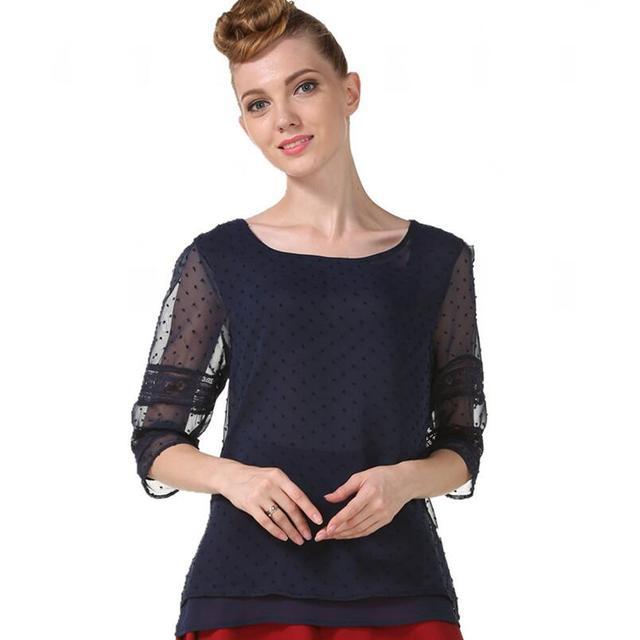 Summer Chiffon blouse women Hollow Half sleeve shirt Plus Size Casual ladies Tops shirt women blusas blusa feminina S-5XL 5