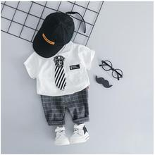 ZWXLHH 2019 Summer Gentleman Style Baby Boys Clothing Sets Infant Clothes Suits  Lapel Shirt Shorts Kids Children Short Suit casual summer gentleman style kids boys clothing sets cotton sling strap costume shirt short jeans boys clothes suits