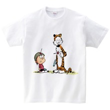 Calvin and Hobbes print t-shirts boys girls short sleeve T-shirt tiger dream 2018 Brand New white cartoon Top clothes  NN