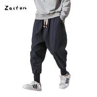 ZAITUN New Harem Pants Me Linen Chinese Traditional Style Drop Crotch Wide Leg Baggy Pencil Pants