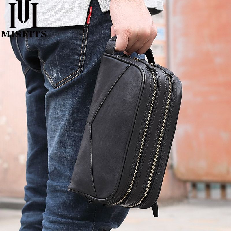 MISFITS Men Cosmetic Bag Genuine Leather Fashion Makeup Bag Travel Toiletry Case Hand-held Make Up Wash Bags For Male Organizer