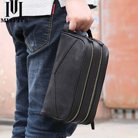 MISFITS men cosmetic bag genuine leather fashion makeup bag travel toiletry case hand held make up wash bags for male organizer