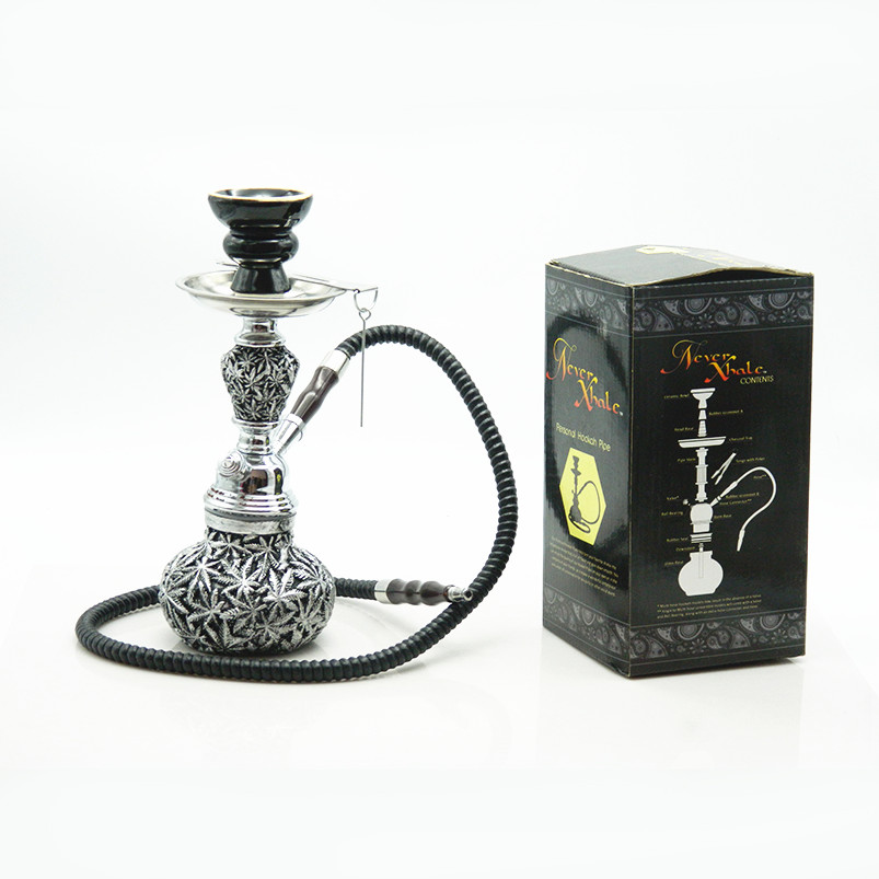 1Pc Durable Black Metal Tobacco Hookah Resin Leave Shape Smoking Pipe Shisha Nargile Spice Herb Hookah